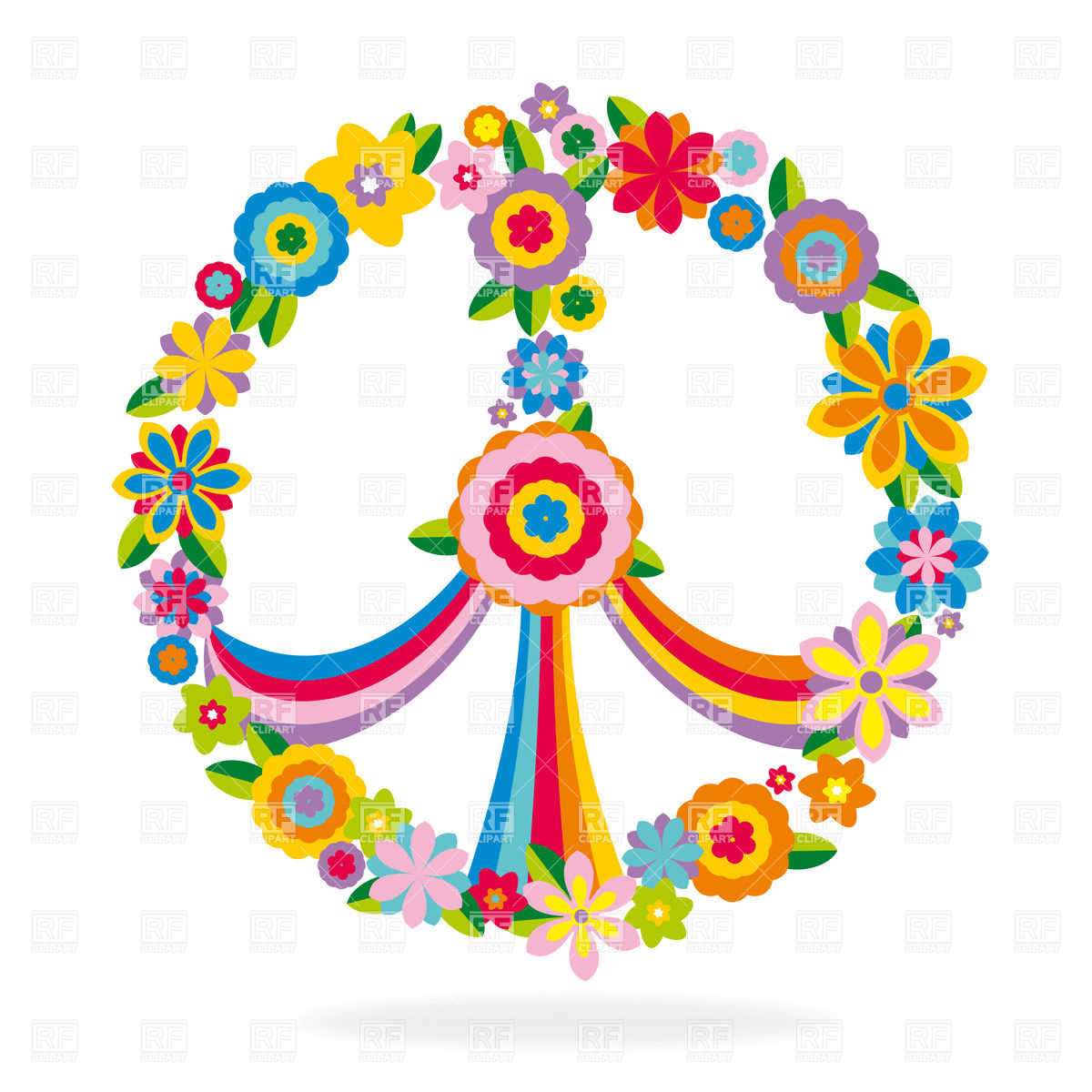 1200x1200 Heart Shaped Peace Symbol Made Of Flowers And Rainbow Royalty Free