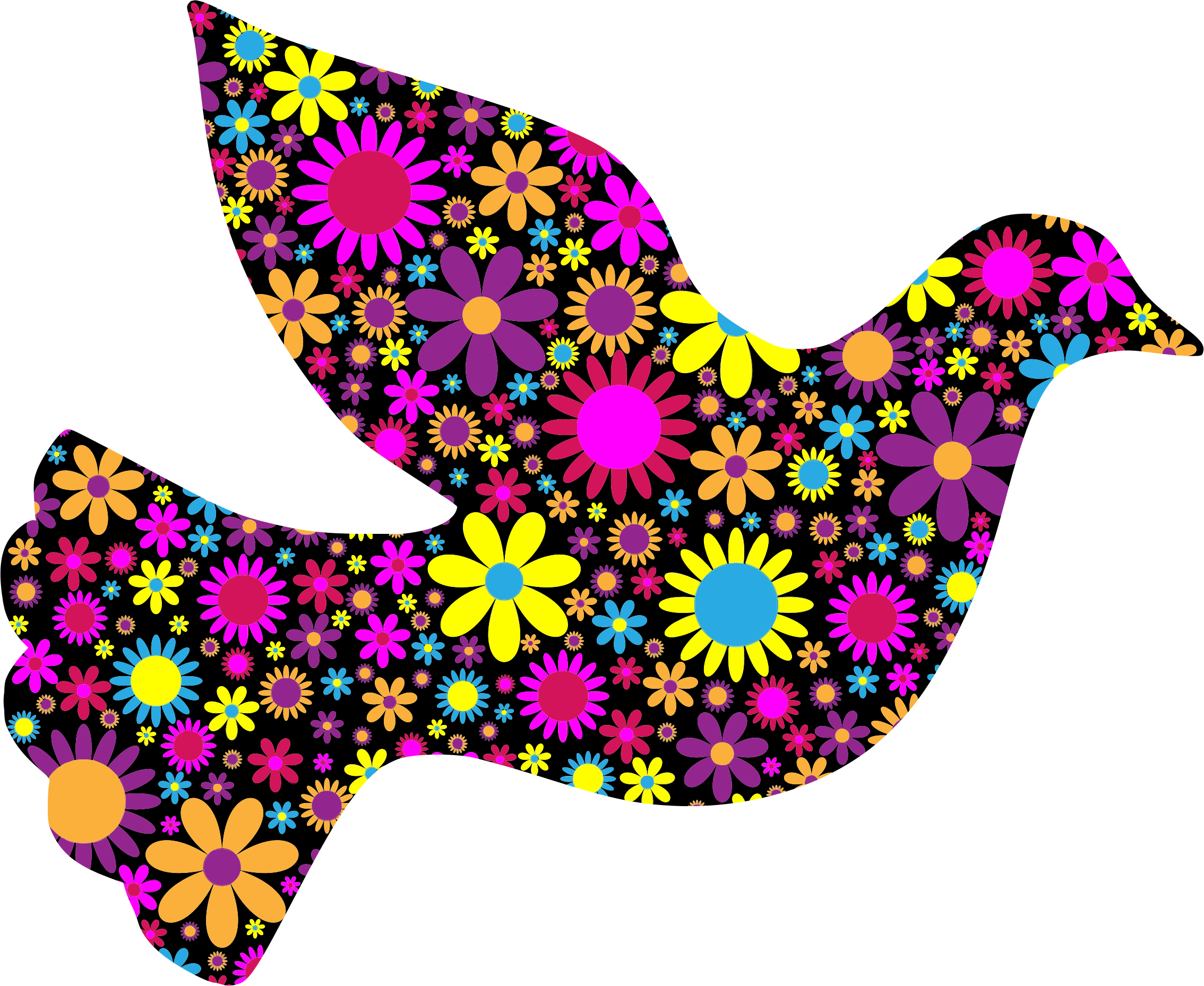 2268x1858 Floral Peace Dove 2 By @gdj, Floral Peace Dove 2, On @openclipart
