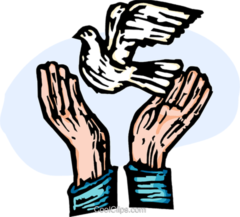480x434 Hands Releasing A Peace Dove Royalty Free Vector Clip Art