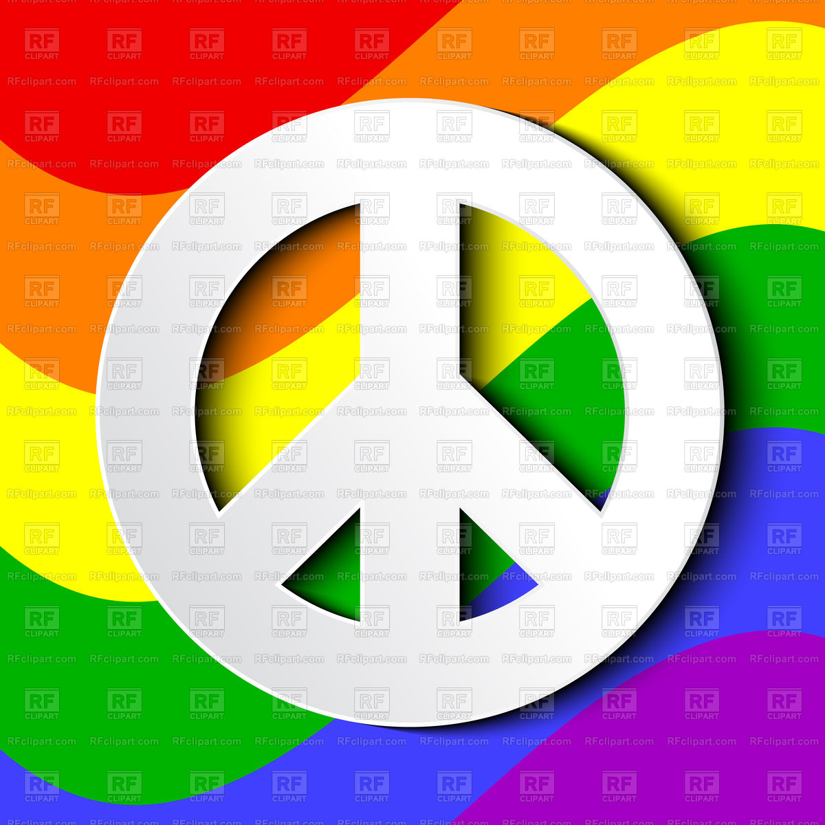 1200x1200 Lgbt Flag With Peace Sign Royalty Free Vector Clip Art Image