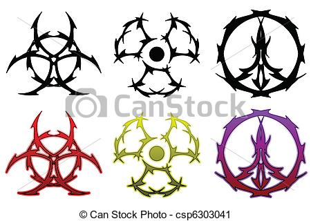 450x320 Tattoo Symbol Set. Bio Hazard, Radiation And Peace Symbols