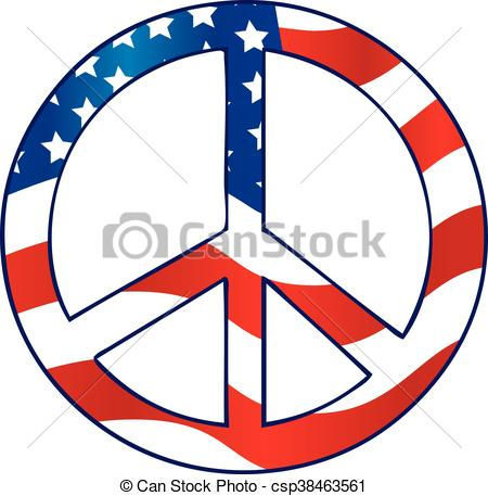 450x457 The American Flag Peace Sign Clip Art Vector