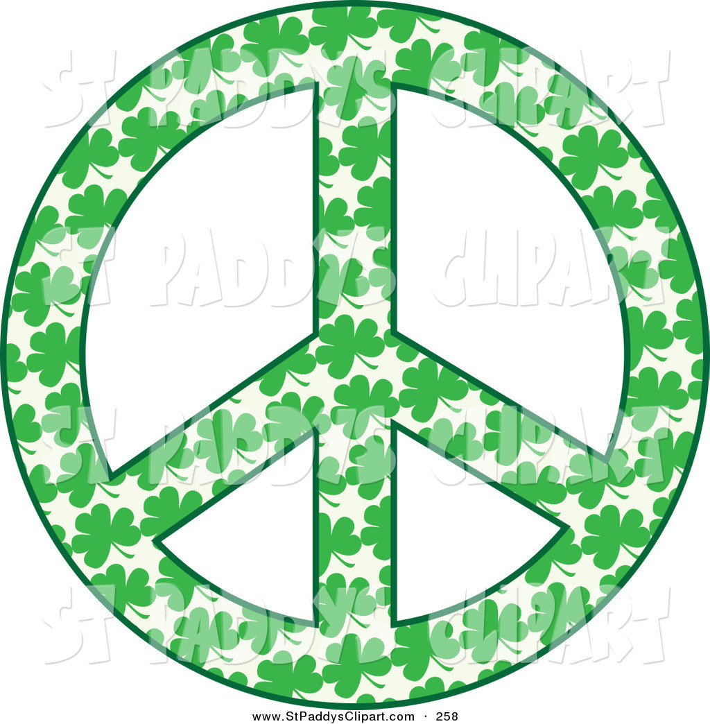 1024x1044 Vector Clip Art Of A Peace Symbol Made Of Green Shamrock Clovers