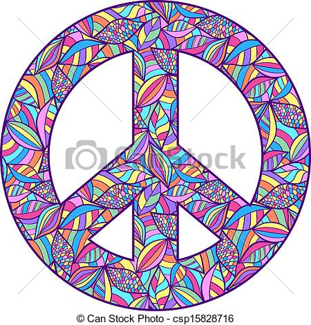 450x470 Vector Illustration Of Colorful Peace Symbol On White Vector