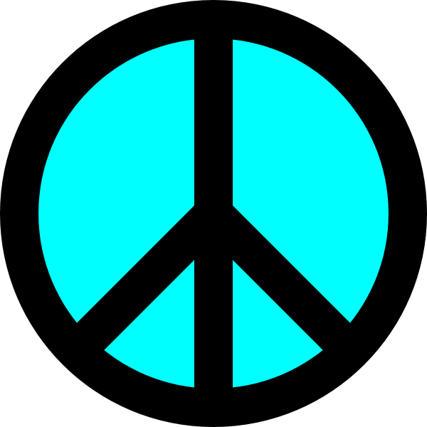 600x600 Black And Turquoise Peace Symbol Clip Art