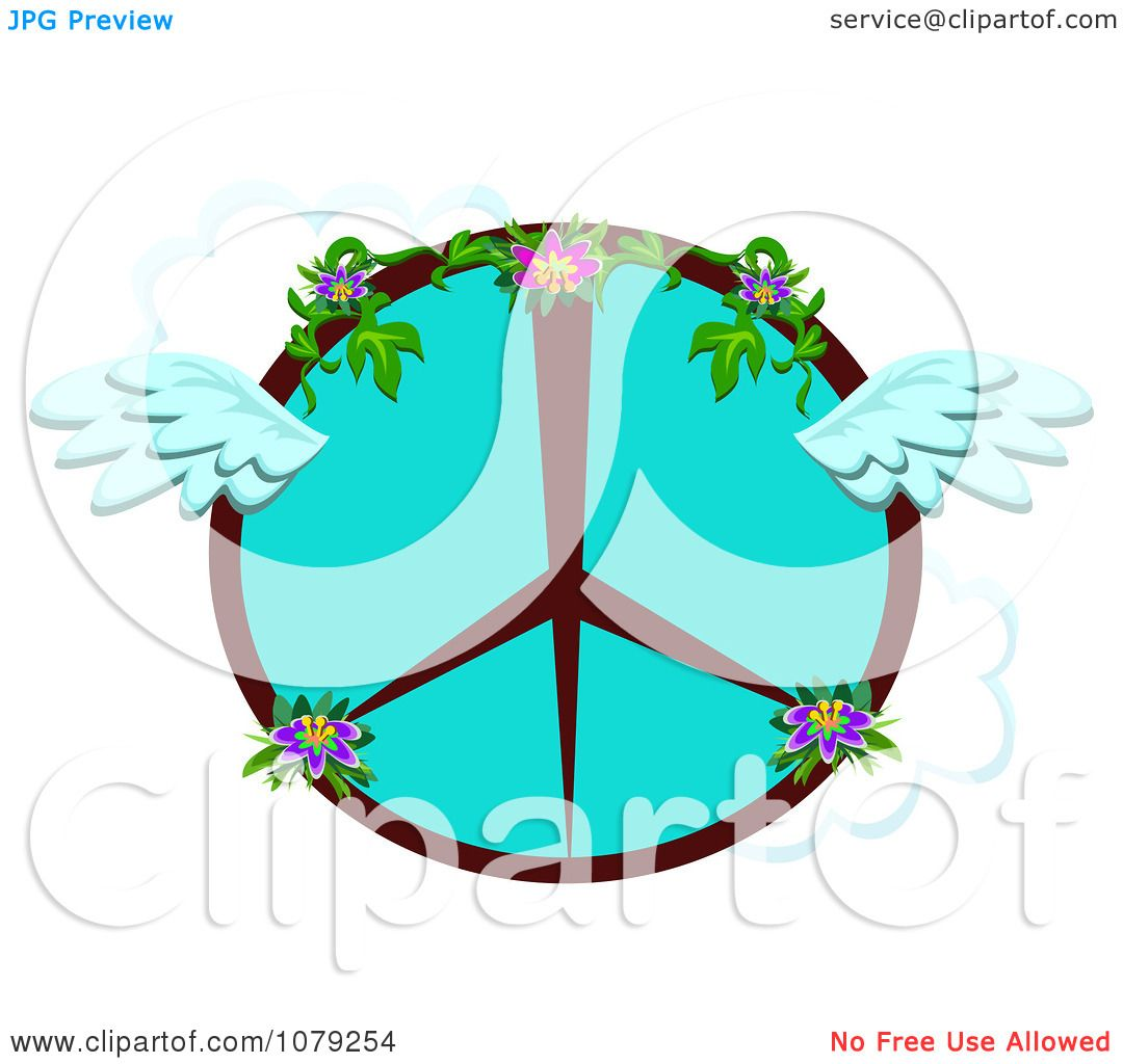 1080x1024 Clipart Winged Floral Peace Symbol