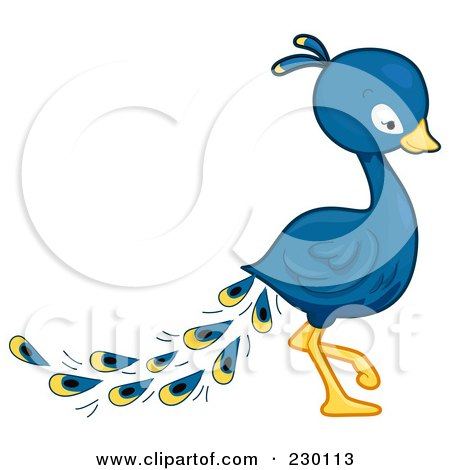 450x470 Royalty Free (Rf) Clipart Illustration Of A Cute Peacock By Bnp