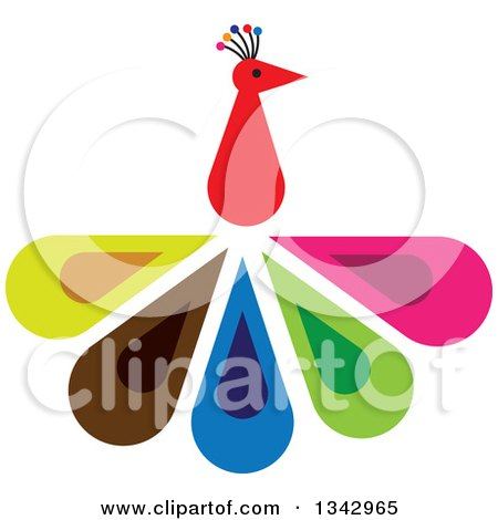 450x470 Clipart Art Deco Styled Peacock In A Circle