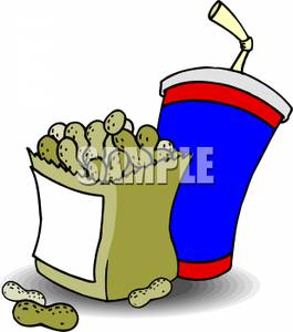 265x300 A Bag Of Peanuts With A Cup Of Soda Clipart Image