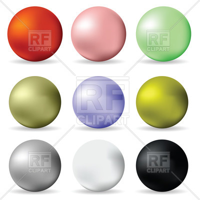 400x400 Colorful Pearl Balls On White Background Royalty Free Vector Clip