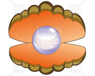 400x320 Openning Seashell With Pearl On White Background Royalty Free