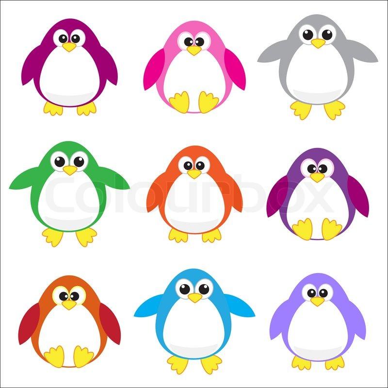 800x800 Color Penguins Clip Art Stock Vector Colourbox