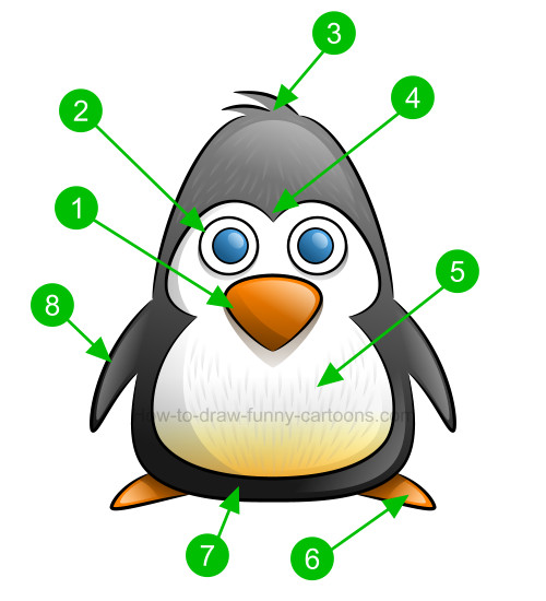500x550 How To Draw A Penguin Clip Art