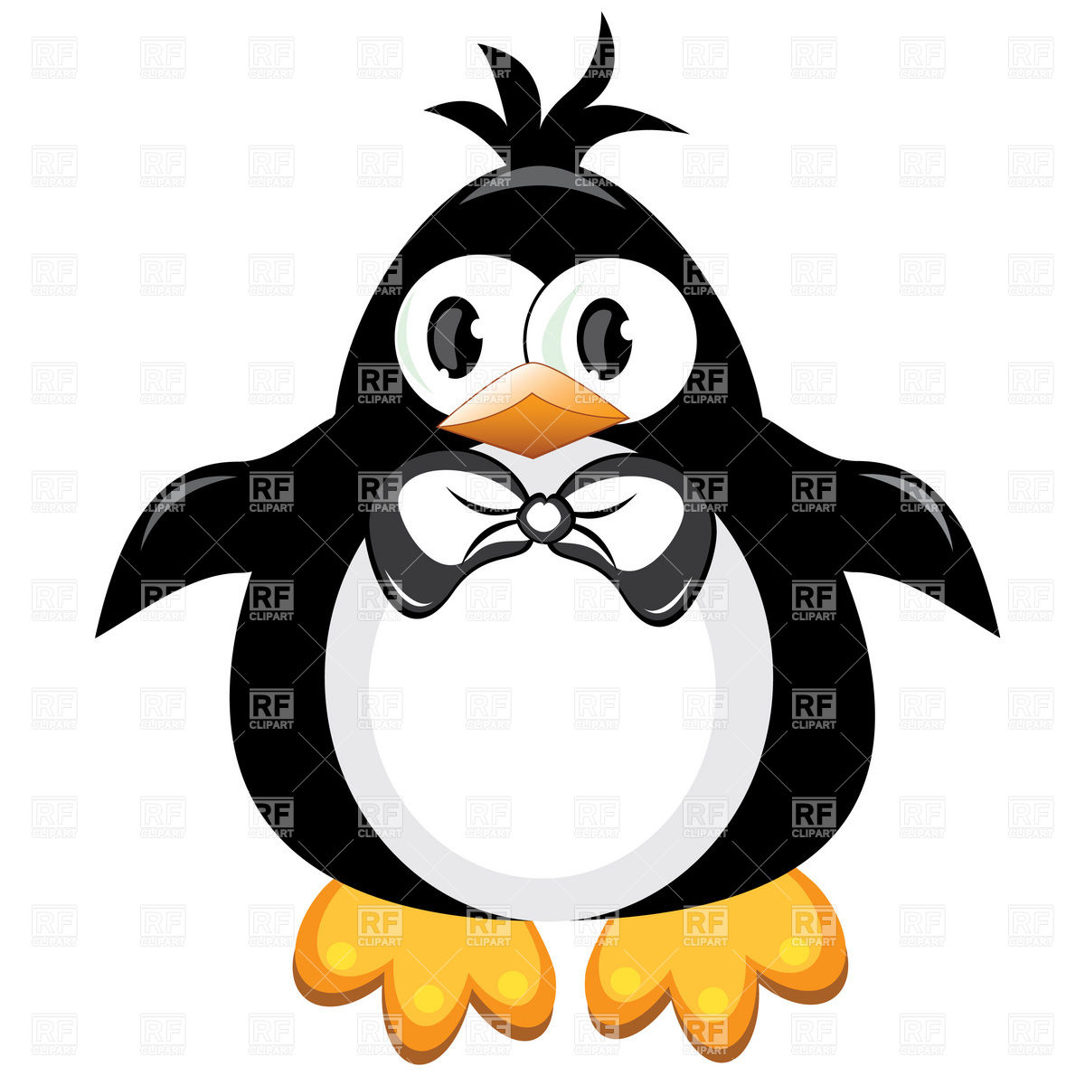 1200x1200 Penguin Boy With Bow Royalty Free Vector Clip Art Image