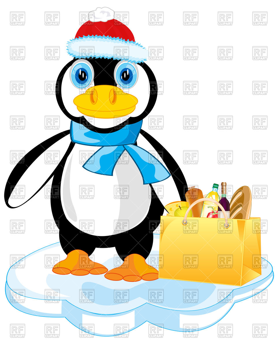 960x1200 Cartoon Penguin In Santa Claus Hat With Product Royalty Free