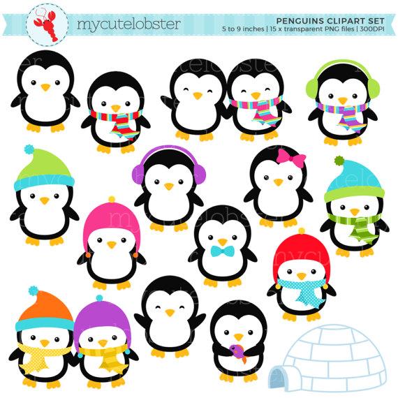 570x570 Penguins Clipart Set Clip Art Set Of Penguins Winter