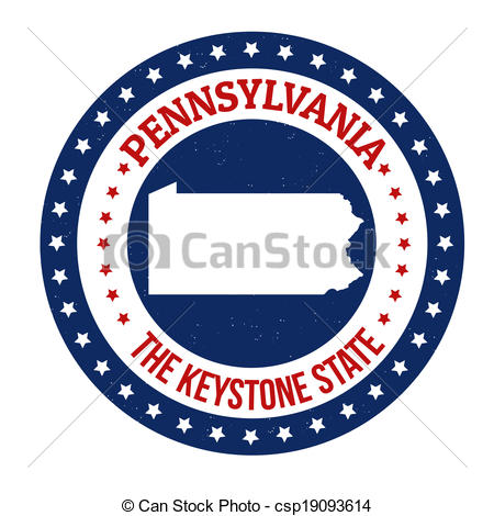 450x470 Pennsylvania Stamp. Vintage Stamp With Text The Keystone Vector