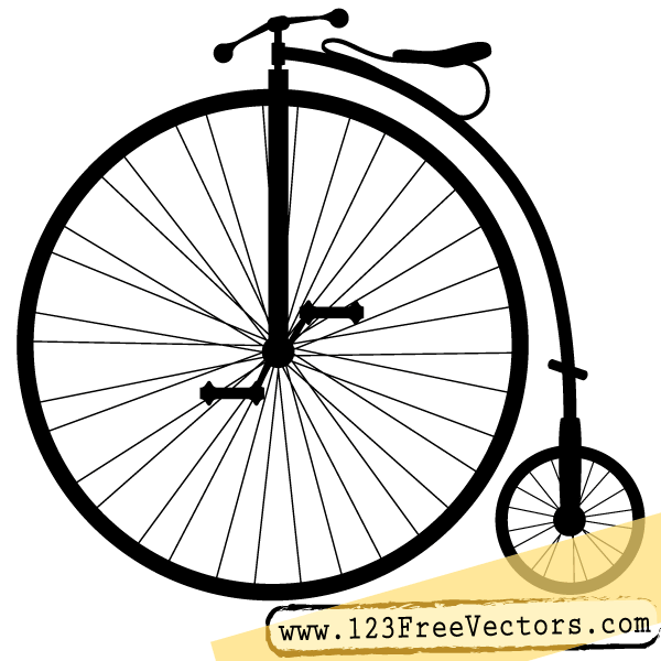 600x600 Penny Farthing Bicycle Vector Clip Art Silhouette Images, Penny