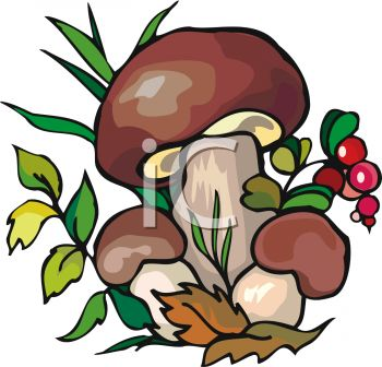 350x336 Picture Of Mushrooms , Berries, And Leaves In Greenery In A Vector