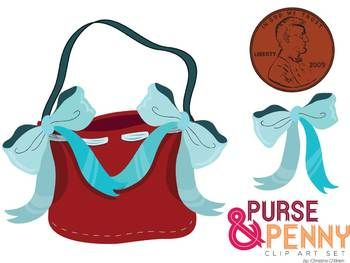 350x263 Simple Clip Art Set Of A Purse, Bows, And A Penny To Go With Lucy