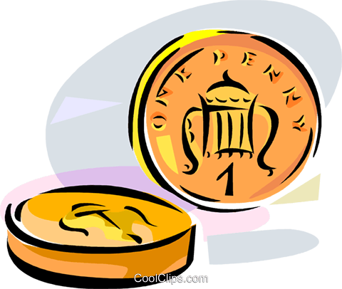 480x406 United Kingdom 1 Penny Coin Royalty Free Vector Clip Art