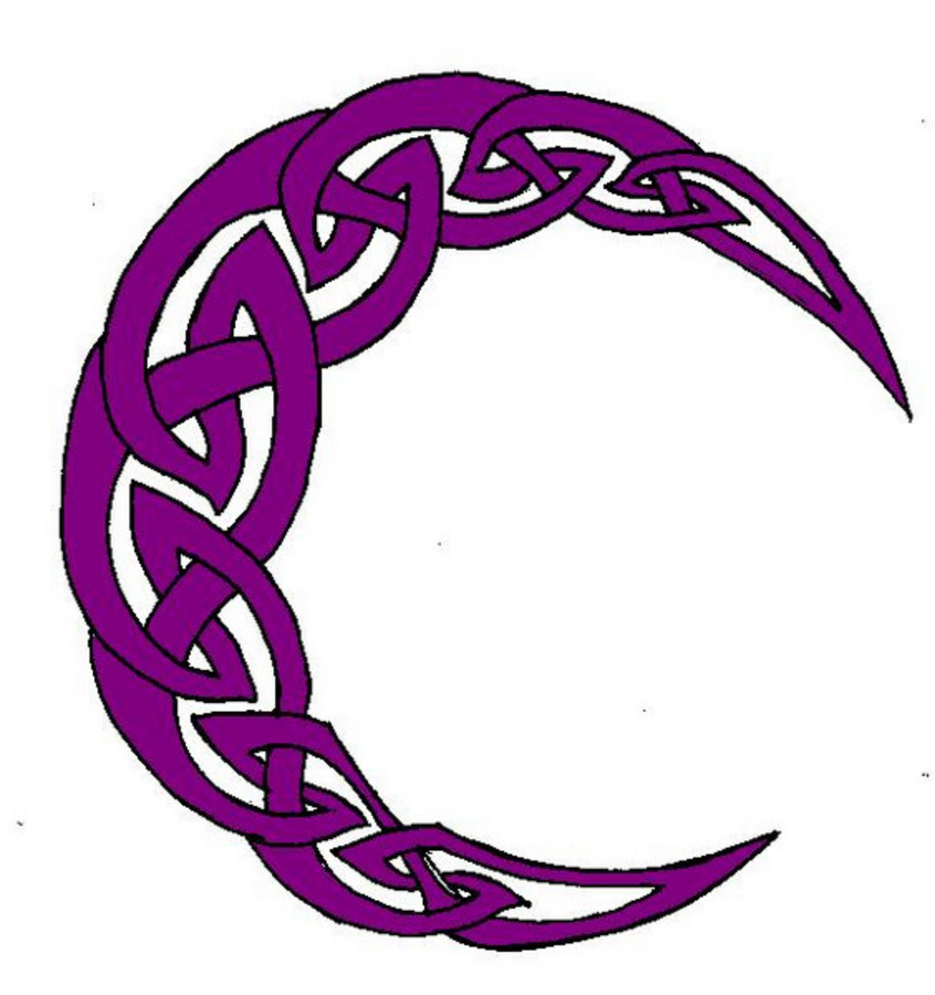 846x900 Pentacle crescent Moon knotwork clipart