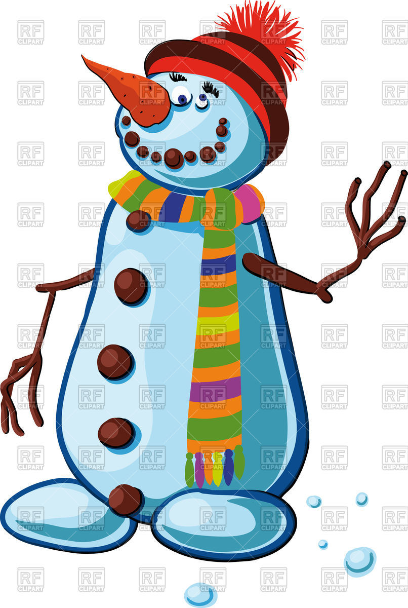 806x1200 Snowman With Silly Smile Waving Branches Of The People Royalty