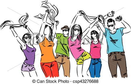 450x288 Happy People Friends Dancing Illustration Vector