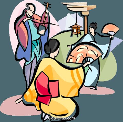 480x479 Japanese Dancing Royalty Free Vector Clip Art Illustration