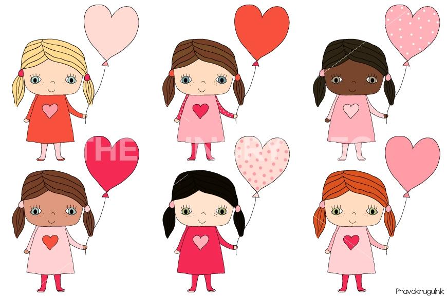 870x579 Cute Girls Clipart, Kawaii Girl Clip Art Set, Valentine Clipart