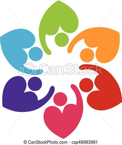 397x470 Teamwork Heart Love People Logo. Teamwork People Love Heart
