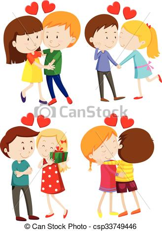 329x470 Love Couple Hugging And Kissing Illustration Eps Vector