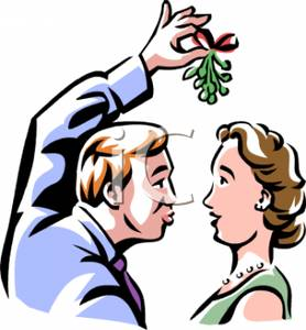 278x300 A Couple About To Kiss Under The Mistletoe Clip Art Image