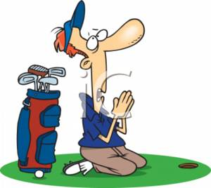 300x268 Clipart Illustration of a Cartoon Man Praying For a Hole In One