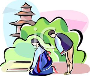 300x252 A Colorful Cartoon Of Asian People Praying