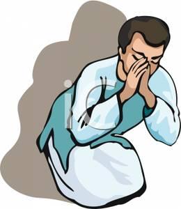 260x300 A Man In Robes Praying Clip Art Image