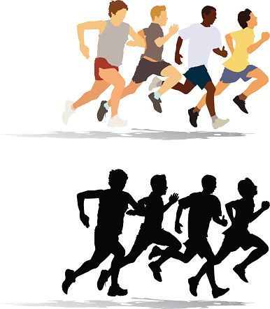 386x443 Clipart Of People Running