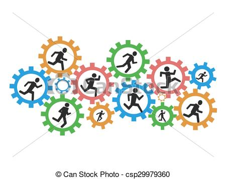 450x357 The Background Of People Running Gears Clip Art Vector