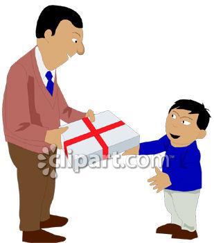 309x350 Dad Giving His Son A Gift Clip Art
