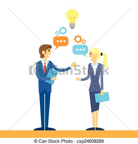 450x470 Business People Talking Discussing Idea Flat Design Vector