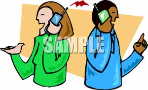 300x183 Clip Art Image Two People Talking On Cell Phones Back To Back