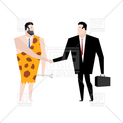 400x400 Businessman And Ancient Man Make Deal Royalty Free Vector Clip Art