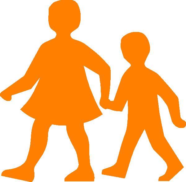 600x586 Children Walking Clip Art