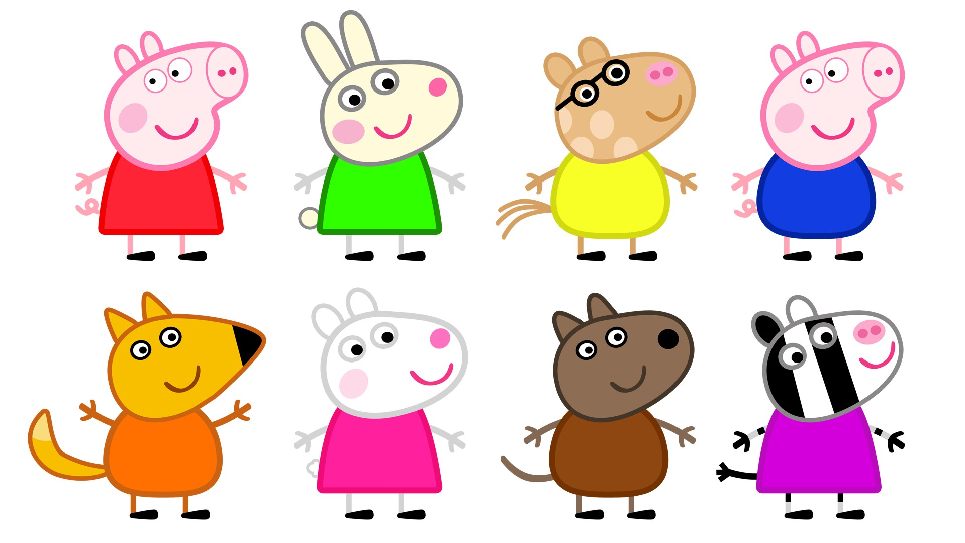 1920x1080 Peppa Pig And Friends Learn Colors With Coloring Pages For Kids