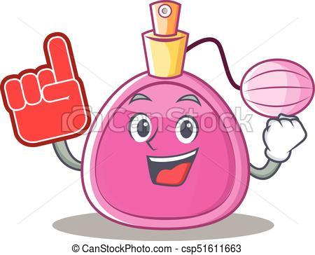 450x364 Foam Finger Perfume Bottle Character Cartoon Vector Illustration.