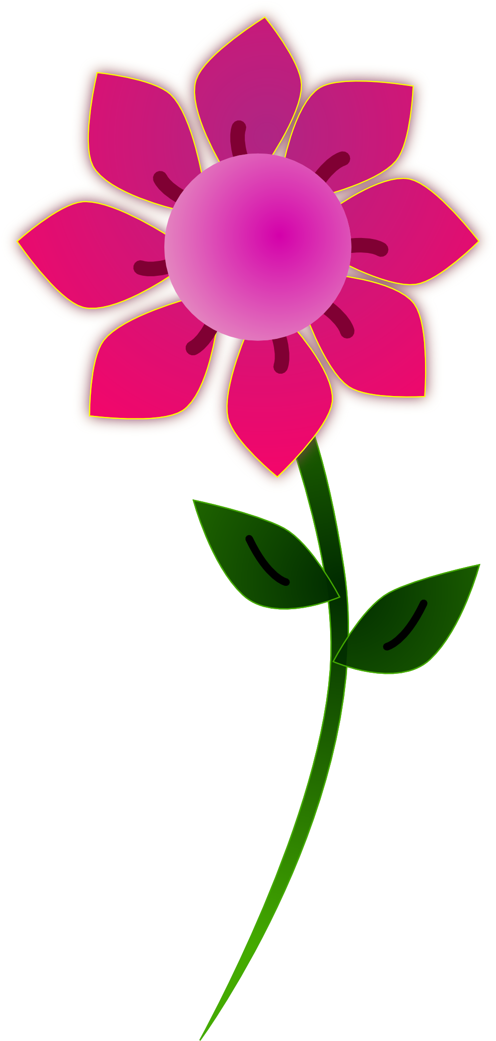 999x2095 Pink Flowers Clipart