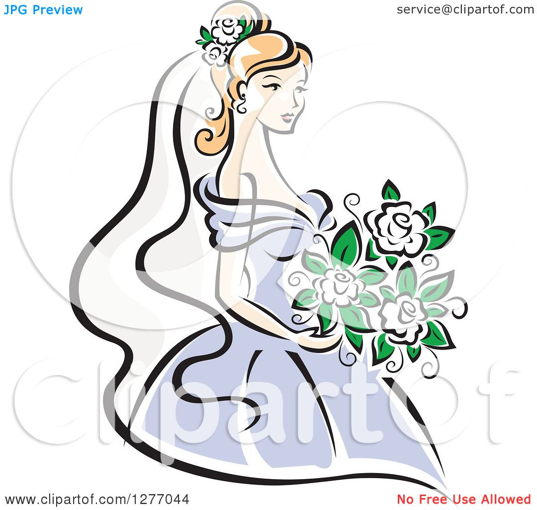 1080x1024 Clipart Of A Blond Bride In A Periwinkle Dress, With White Flowers