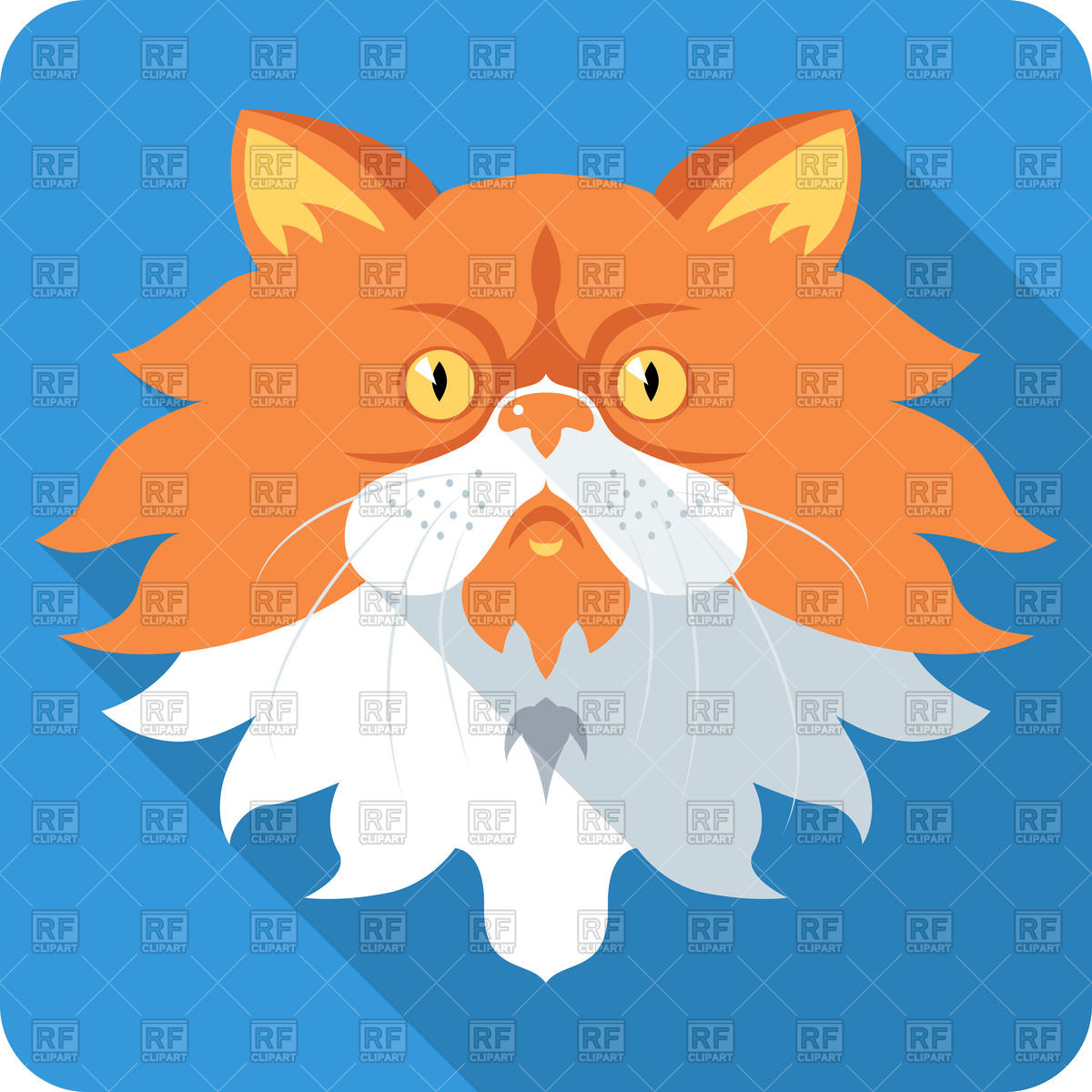 1200x1200 Flat Icon Of Red Cat Royalty Free Vector Clip Art Image