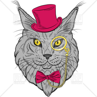 400x400 Hipster Cat Maine Coon In The Red Hat, Pince Nez Eyeglasses