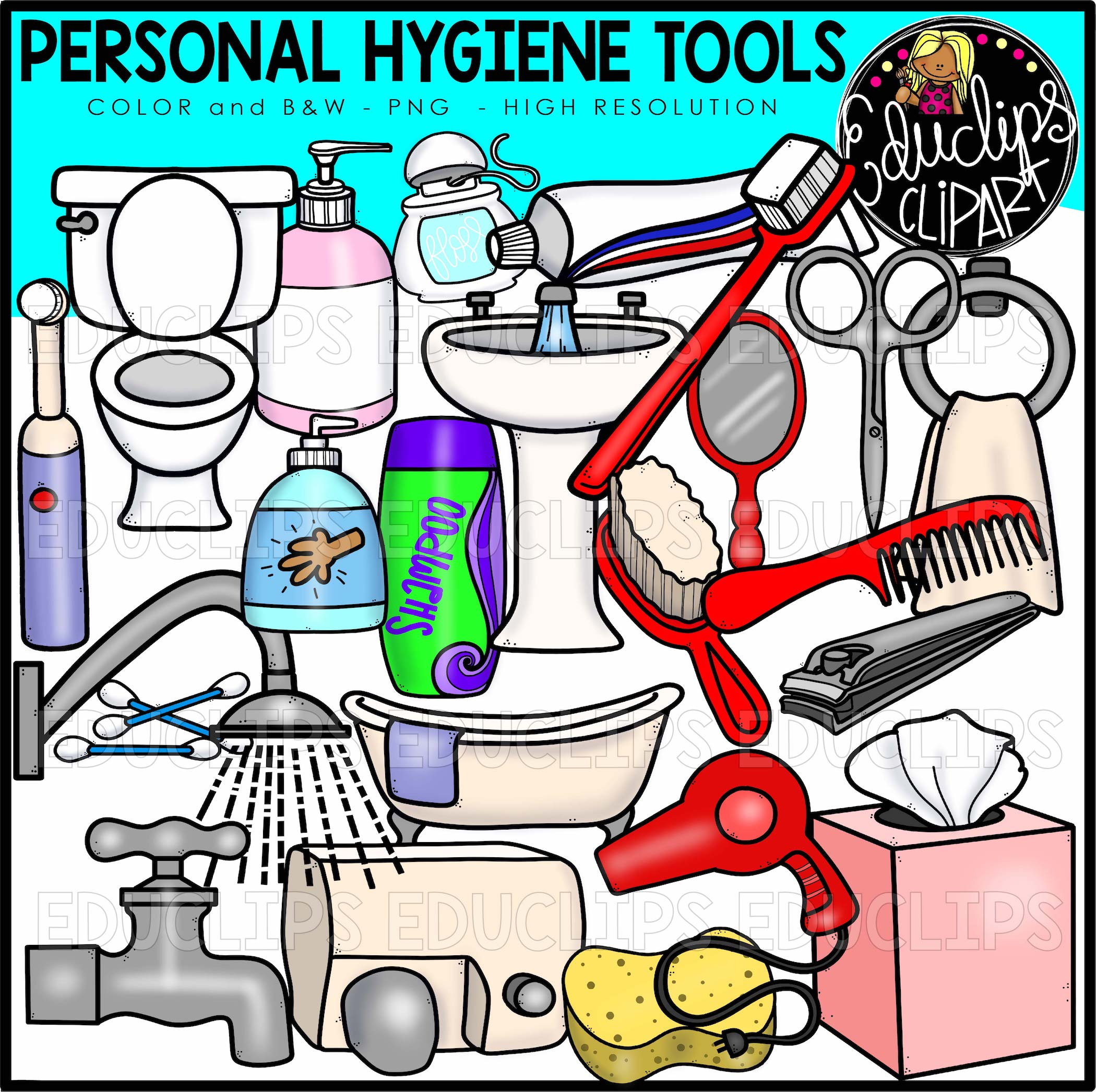 2100x2093 Personal Hygiene Tools Clip Art Set